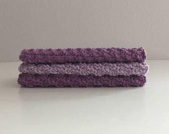 Set of 3 cotton knit washcloths - purple and lavender  kitchen dishcloths