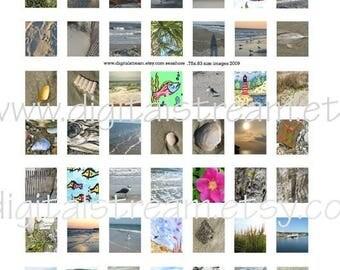 Sea Shore Pics .75x.83 Scrabble Tile Size Digital Collage Sheet 63 Different Images Scrapbooking
