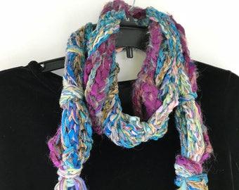 Crochet scarf, women's wearable art Bohemian long wild chunky knit, pink teal blue green purple olive, Lhasa Boho cotton wool scarf i730