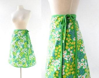20% off sale Floral Wrap Skirt | Blumenfeld | 70s Skirt | 24-27W XS S