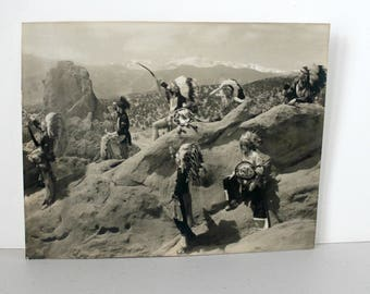 H.L. Standley B/W Photo Native American Chiefs Landscape Colorado Springs Colo