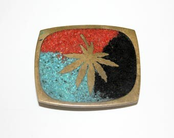 Pot Leaf Belt Buckle, Vintage Brass Metal Art Hippie Buckle