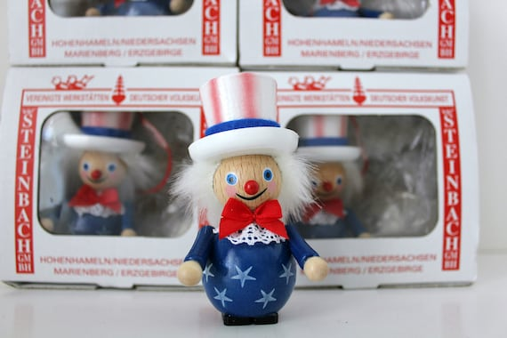 5 Steinbach Uncle Sam Wooden Christmas Ornaments in Box, Volkskunst Patriotic, Handmade in Germany
