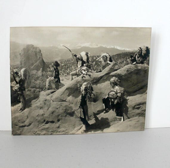 Vintage H.L. Standley B/W Photo Native American Chiefs Landscape Colorado Springs Colo