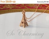 ON SALE Eiffel Tower Necklace, Rose Gold Necklace, Rose Gold Chain, Eiffel Tower Jewelry, Paris Jewelry, Charm Necklace, French Jewelry Gift
