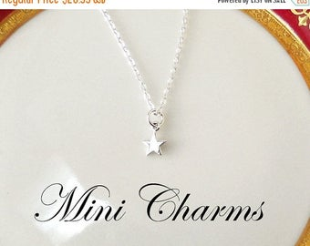 ON SALE Mini Star Necklace,  Silver Charm, Silver Chain Necklace, Tiny Star Necklace, Star Jewelry, Simple Jewelry, Dainty Necklace, Jewelry