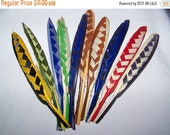 ON SALE Vintage Millinery French Feather Quill Hat Trim NOS Fancy Woven Check