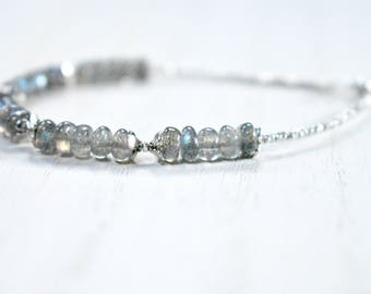 labradorite bracelet with sterling silver detail. tiny sterling beaded bracelet and labradorite. labradorite bracelet with sterling silver