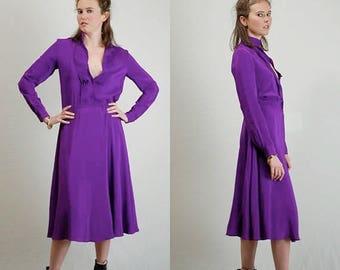 SALE 25% off sundays Silk Dress Vintage 70s 80s Violet Draped Silk Secretary Office Dress (s m)