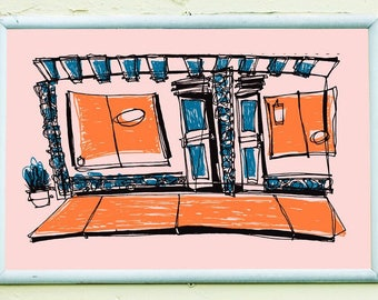 THE STRIP MALL   Los Angeles screenprint retro 1950's style cartoon colors   by Kathryn DiLego