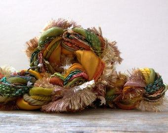 autumn breeze dream weaver effects™ 30 yards art yarn fiber bundle pack mixed media fibers textile craft kit luxury ribbons wools sari silk