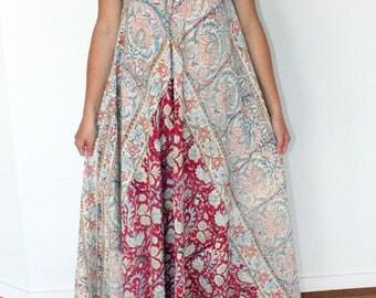 Vintage Indian Cotton Kaftan Dress Halter Maxi India Gauze