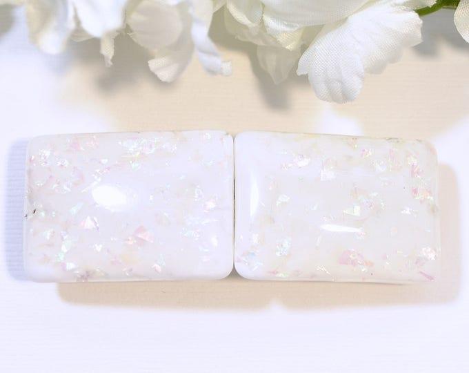 White Barrette Glitter Hair Clip Sparkle Barrette Handmade Hair Slide Hair Clamp