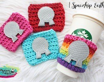Epcot Center Crochet coffee cozy { Spaceship Earth } coffee gift, cup sleeve, park essentials knit mug sweater starbucks ceramic, vacation