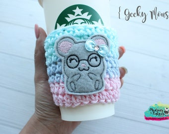 Crochet cup cozy { Geeky Mouse } nerd glasses, pink aqua, zoo gift, teacher gift, knit mug sweater, animal lover, coffee cup sleeve