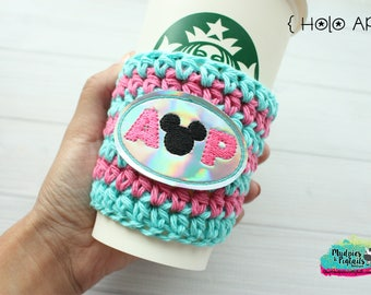 Crochet Coffee Cup cozy {Annual Passholder } parks, holographic mouse, reuseable drink sleeve, sleeve, mug sweater, vacation, tourist