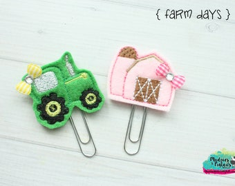 Planner Clip or Hair Clippies { Farm Days } barn tractor, animal Summer Paper Clips, Stationary, Birthday party favors, kikkik