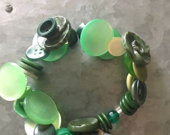 Vintage Green Button Bracelet