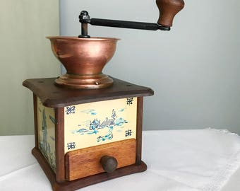 Vintage Copper and Wood Coffee Grinder / Antique Coffee Mill