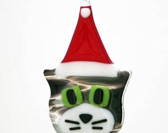 Glassworks Northwest - Grey Tabby Cat w/ White Cheeks and Santa Hat - Fused Glass Ornament
