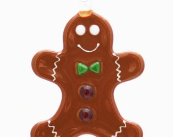 Glassworks Northwest - Gingerbread Man - Fused Glass Ornament