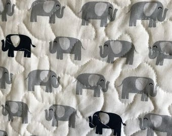 """Baby boy elephant quilt, toddler quilt, lap quilt, elephant quilt, gray and blue quilt, 35"""" x 42"""""""