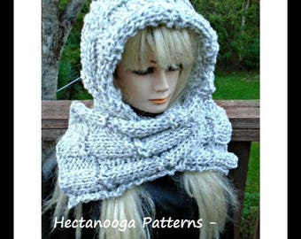 KNITTING PATTERN, hat knitting pattern, hooded scarf pattern, women and teens, adults, #2071, winter scarf, unisex scarf