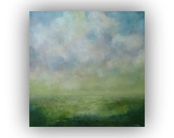 Abstract Landscape Painting- Blue and Green Field Sky and Clouds Oil Painting- Original 20 x 20 Palette Knife Art on Canvas