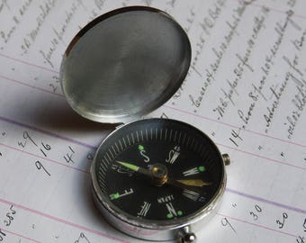 "Vintage COMPASS Japan- Working- Chrome Housing- with ""D"" Initial on Cover- Navigational Tool- East West North South"