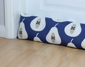 Draught Excluder Indigo Blue Pear Print Patterned Fabric Scandi Home Modern Interior Retro Style Kitchen Long
