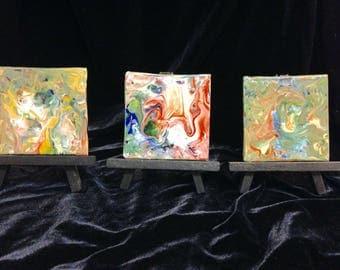 Set of 3 Acrylic Abstract ORIGINAL ART