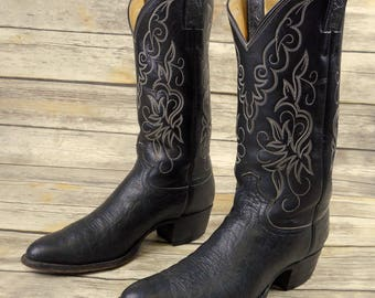 Mens 8 D Cowboy Boots Black Leather Justin Western Wear Country Urban Rockabilly