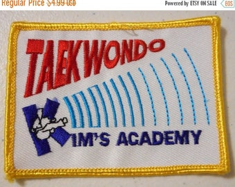Taekwondo Kims Academy Embroidered Patch Wichita KS Kansas Yellow Red Blue