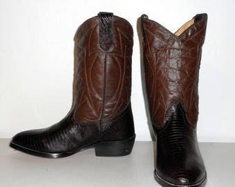 Womens 7.5 Cowboy Boots Brown Faux Lizard Indie Cowgirl Vintage Mexico Size 24.5 Western Boho