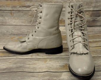 Womens 9 B Cowboy Boots White Lace Up Justin Country Cowgirl Western Steampunk
