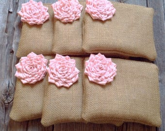 6 Rose Quartz Wedding Bags, Spring Bridesmaid Accessory, Pastel Wedding Clutches, Spring Wedding, Bridesmaid Clutch Set of 6, Wedding Clutch
