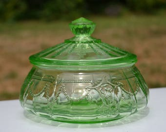 "1930s Green Depression Glass Candy Jar, ""Cameo"" Pattern, UV Reactive"
