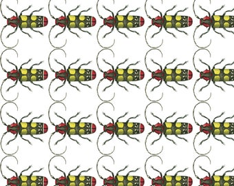 Creepy Crawly Fabric - Long-Horned Beetle By Flyingfish - Creepy Crawly Insect Bug Vintage Cotton Fabric By The Yard With Spoonflower