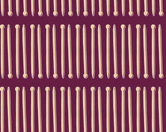 Purple Knitting Needles Fabric - Knit Wit  By Shellican - Neutral Maroon Abstract Modern Decor Cotton Fabric By The Yard With Spoonflower