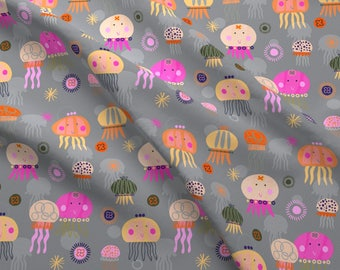 Jolly Jellyfish Fabric - Jellyfish By Redfish - Pink Nautical Nursery Decor Cotton Fabric By The Yard With Spoonflower