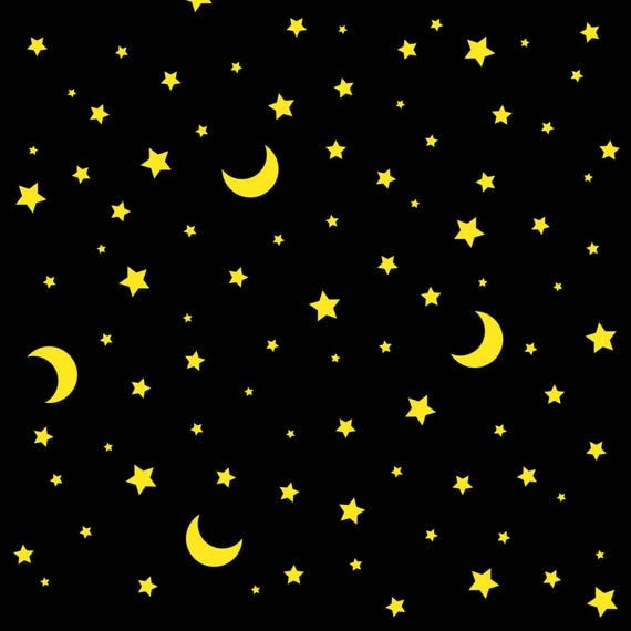 Moon fabric moon and stars celestial black by magic for Celestial fabric by the yard