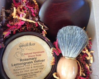 Men's Shaving Gift, All Natural Shave Soap, Wooden Shave Bowl and Badger Shaving Brush, Essential Oil Shave Soap, Gift Box