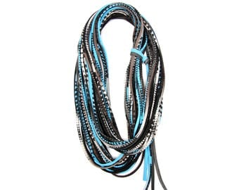 Blue Scarf, Blue and Brown Scarf, Women's, Men's, Infinity Scarf, Fall Scarf