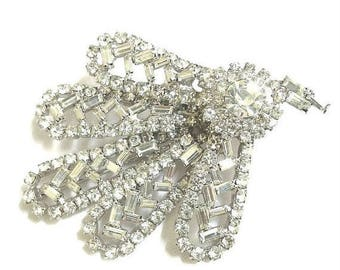 Pave Rhinestone Leaf Brooch Abstract Vintage Clear Crystal