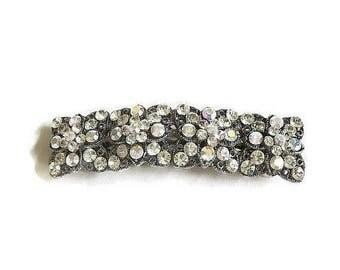 SALE Aurora Borealis Rhinestone Studded Hair Barrette Vintage Wedding Bridal