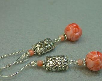 Vintage Carved Pink Coral Angel Skin FLOWER Bead Earrings,Handmade Bali Sterling Silver FLOWER Beads,Handmade Bali Sterling Silver Ear Wires