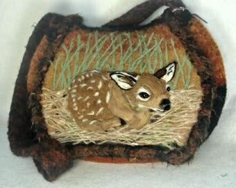Felted Purse, Deer Art, Felt Handbag, Fawn, Needle Felt Deer, Fiber Art, Wool Purse