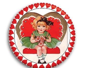 "20% OFF - Valentine Retro Flower Girl Pocket Mirror, Magnet or Pinback Button - Favors - 2.25""- MR583"