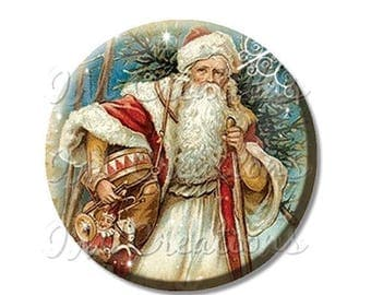 "20% OFF - Pocket Mirror, Magnet or Pinback Button - Favors - 2.25""- Vintage Christmas Victorian St. Nick MR203"