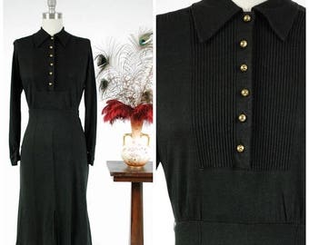 Memorial Weekend Sale - Vintage 1940s Dress - Chic Black Wool Jersey 40s Day Dress with Pintucked Bodice and Sleek Lines